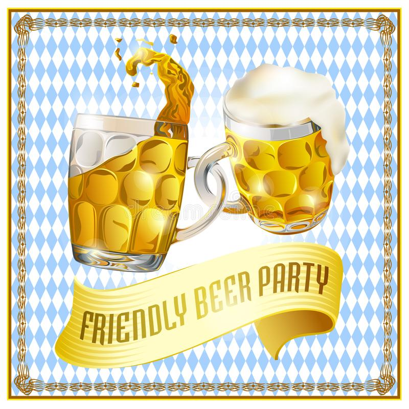Beer party vintage greeting card. royalty free illustration
