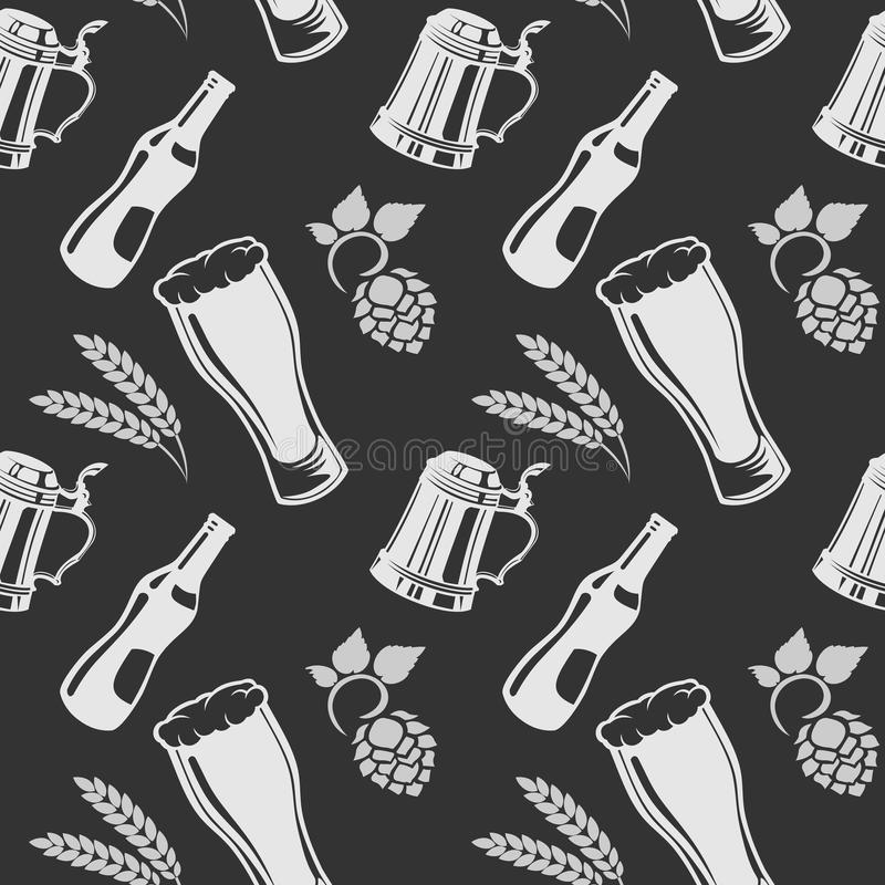 Beer pattern with glass, wheat and hops. Vector stock illustration