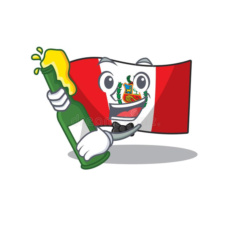 With beer peru flag stored in character drawer. Vector illustration stock illustration
