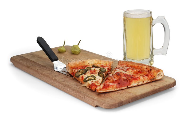 Beer and pizza. Mug of beer and pizza on white stock photos