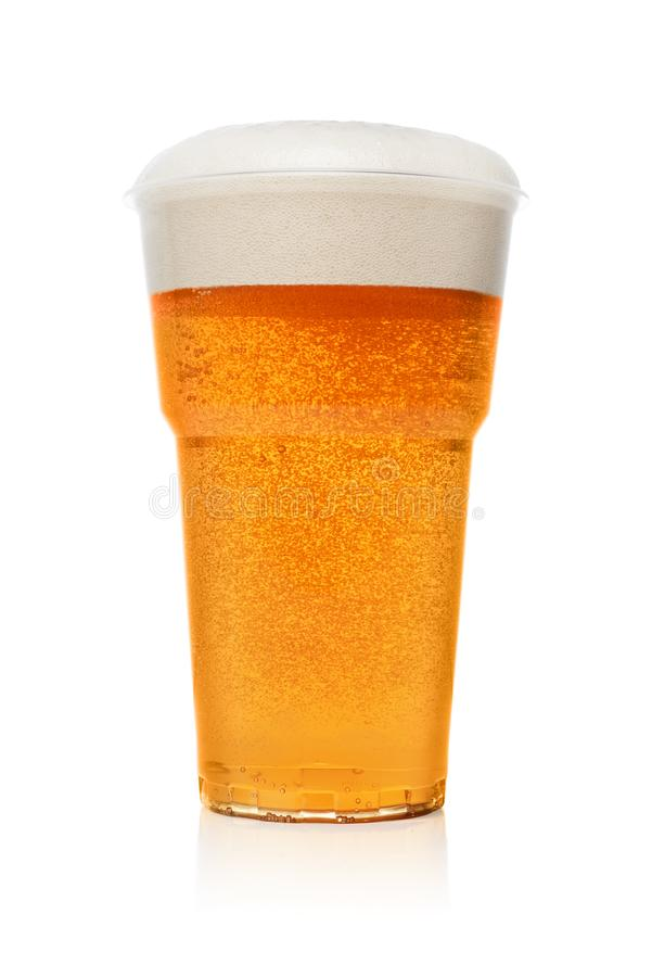 Beer in a plastic cup royalty free stock photo