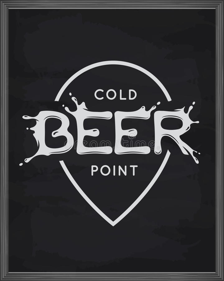 Beer point lettering poster. Pub emblem on chalkboard background. Vector vintage illustration. stock illustration