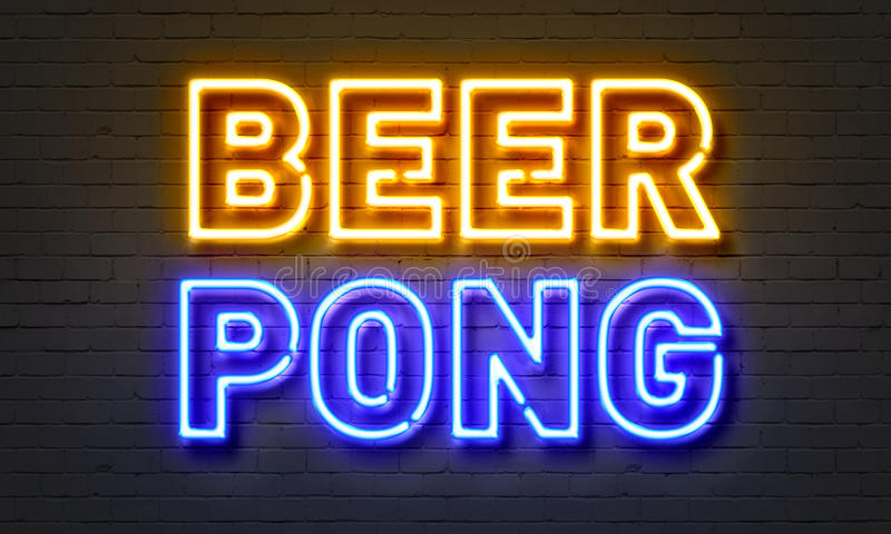 Beer pong neon sign on brick wall background. Beer pong neon sign on brick wall background stock photography