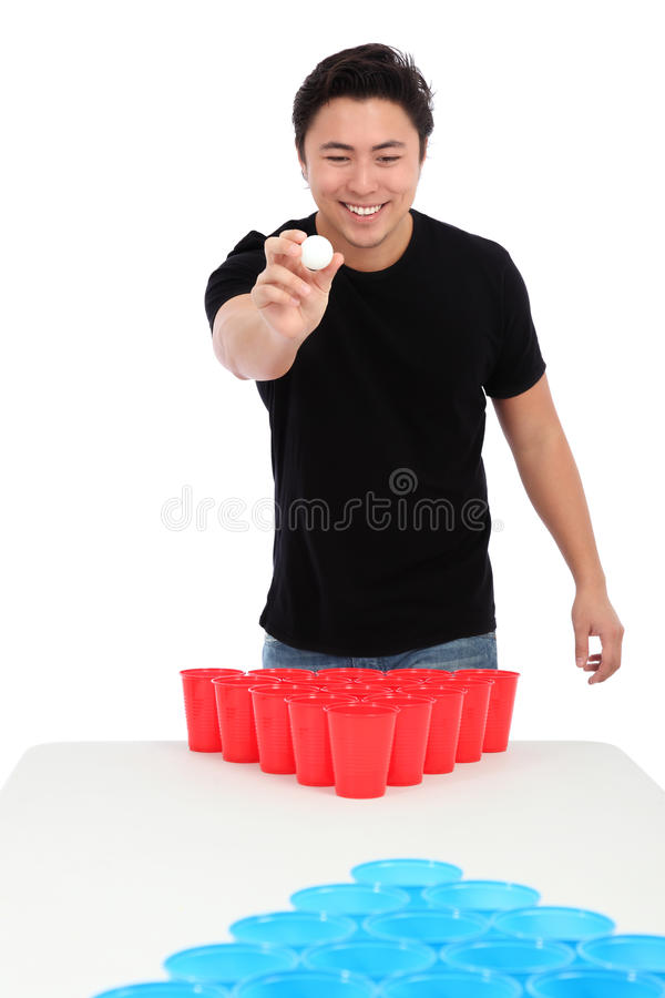 Beer pong player. Wearing a black t-shirt throwing a ball. White background stock photos