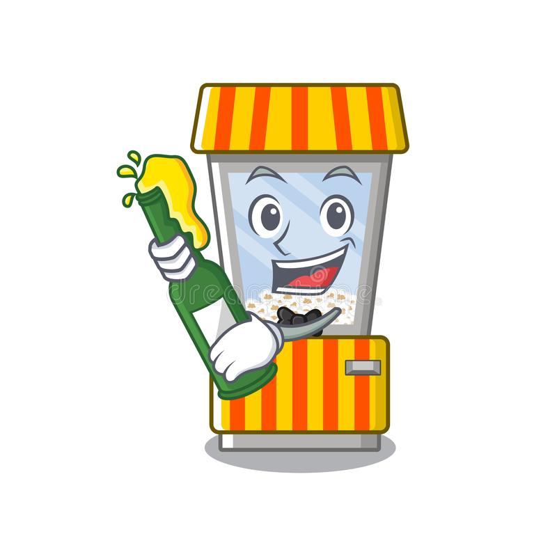 With beer popcorn vending machine in mascot shape. Vector illustration royalty free illustration