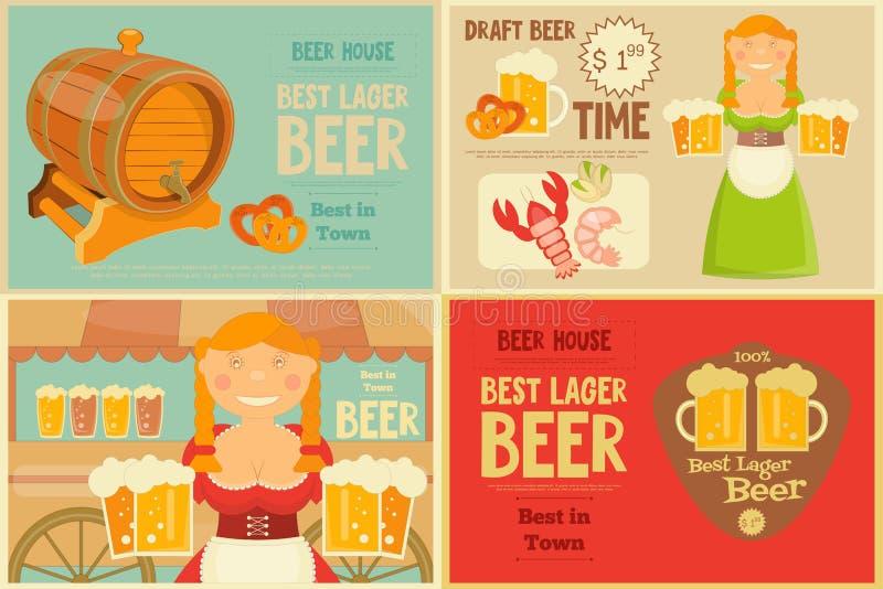 Beer Posters Set vector illustration