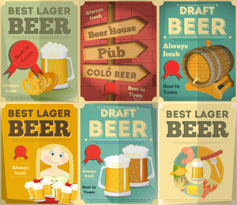 Beer Posters Set. Beer Retro Posters Collection in Vintage Design Style. Illustration stock illustration