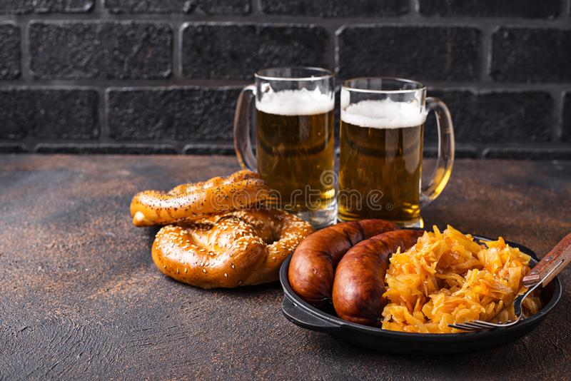 Beer, pretzels and Bavarian food royalty free stock image
