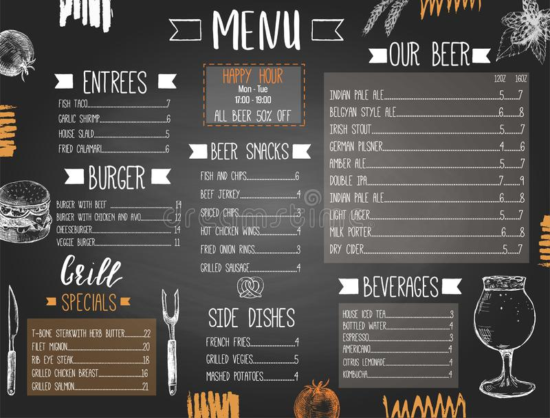 Beer pub or bar menu template with hand drawn food and beer. And text, stylized as a blackboard vector illustration