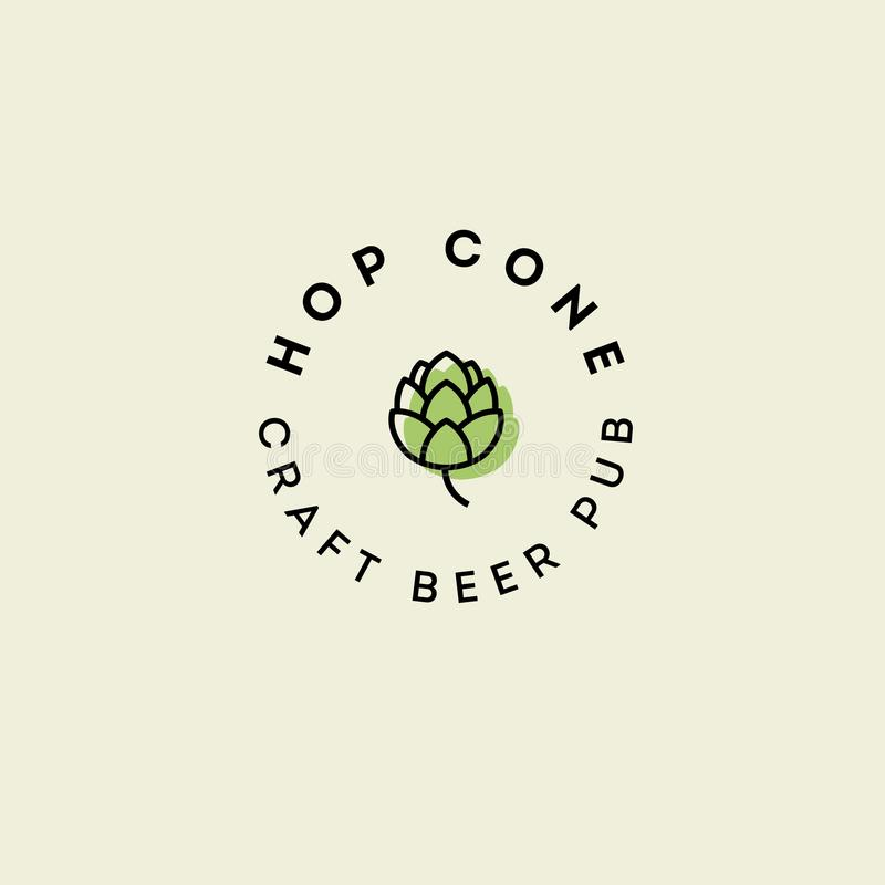 Beer Pub emblem. Hop cone logo. Craft Beer logotype. Green hop cone with letters on a circle vector illustration