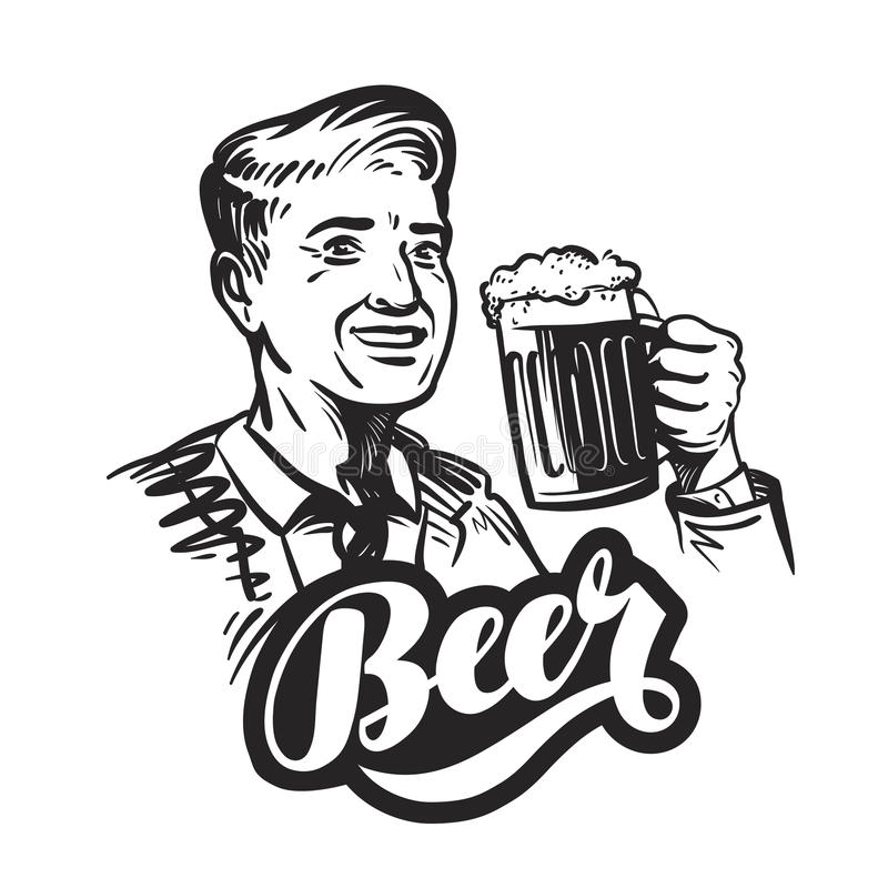 Beer or pub. Happy smiling man with mug of fresh ale. Vector illustration stock illustration