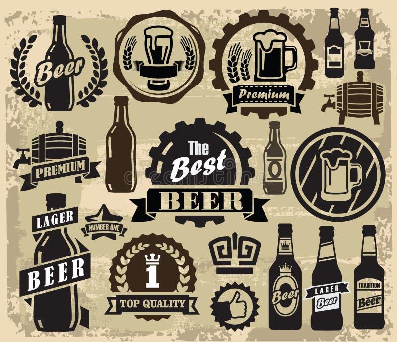 Beer pub labels. Vector color beer pub labels icons set royalty free illustration