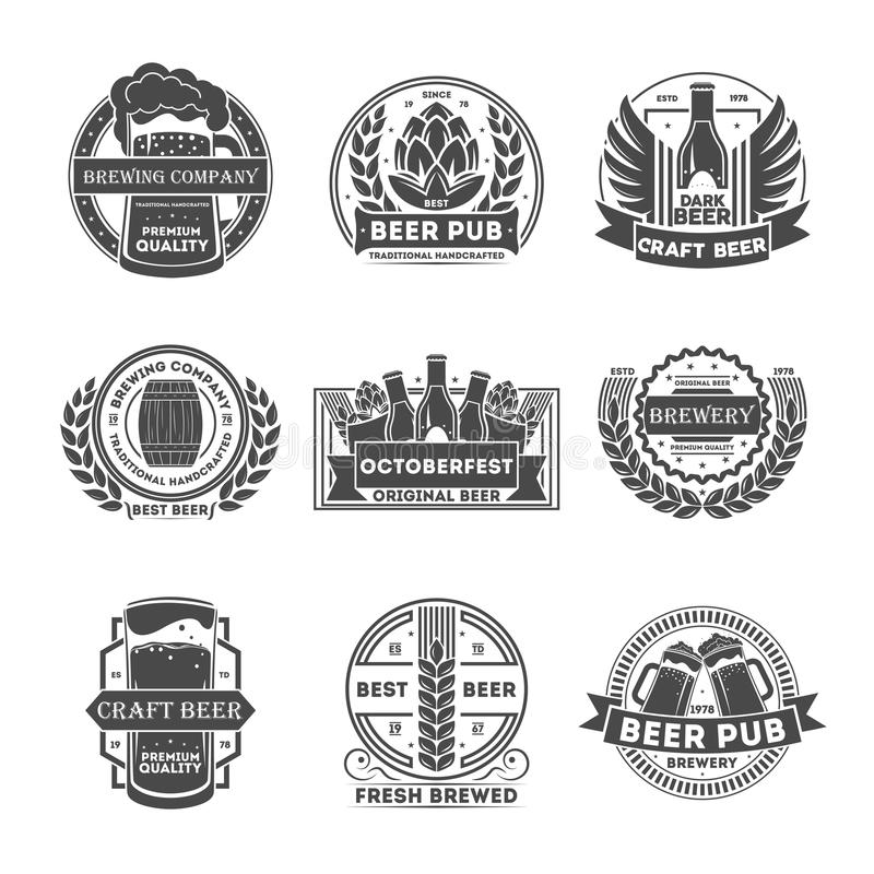 Beer pub vintage isolated label set royalty free illustration