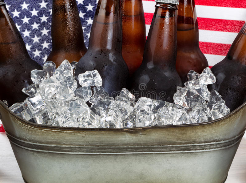 Beer ready to drink for the Fourth of July holiday stock images