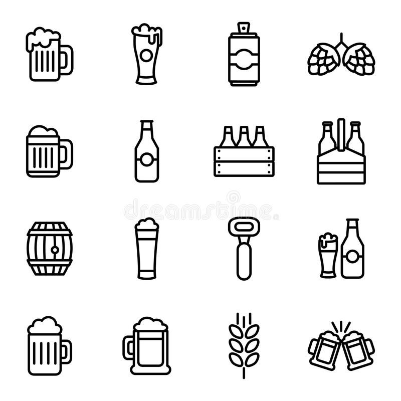 Beer related vector icons. Beer drink thin line icon set liquid beverage bar or pub royalty free illustration