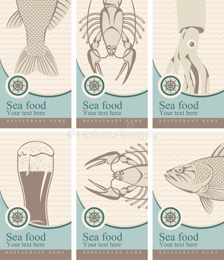 Beer and seafood. Set of banners with beer and seafood stock illustration