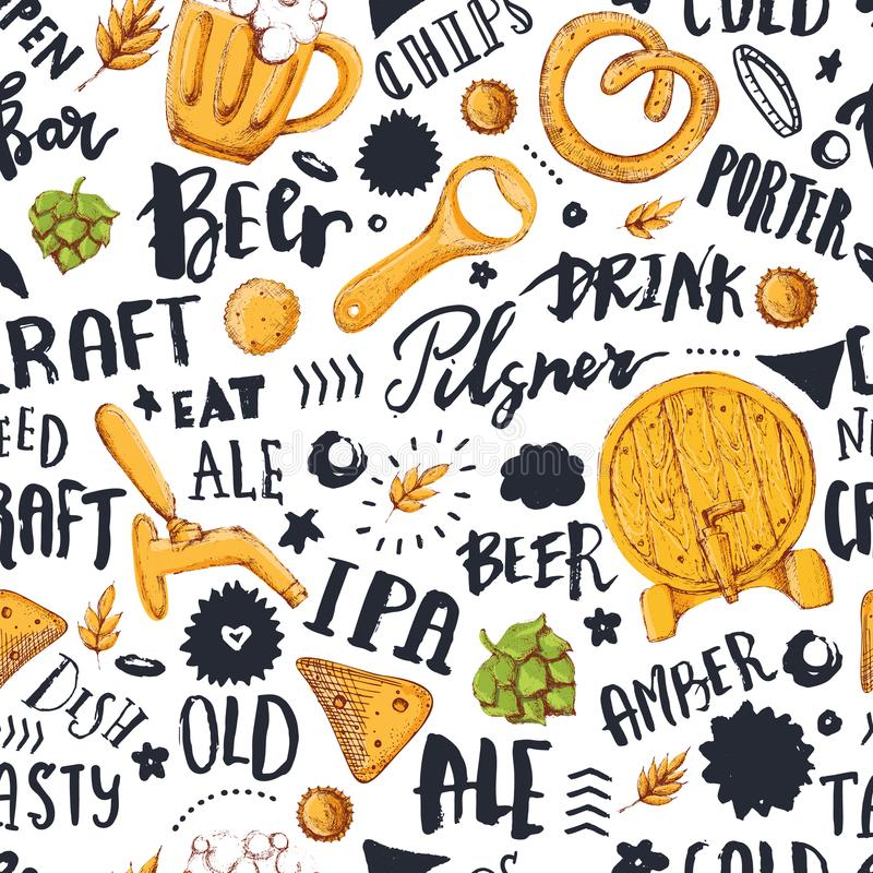Beer Seamless pattern with hand drawn lettering for bar promotion, pub. Vector oktoberfest sketch illustration vector illustration
