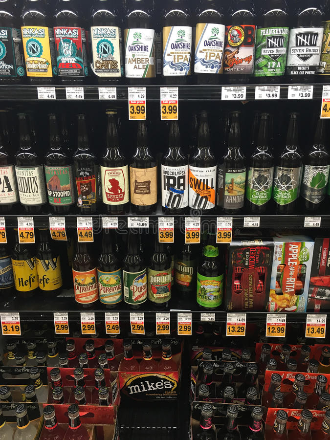 Beer Selection at Grocery Store royalty free stock photo