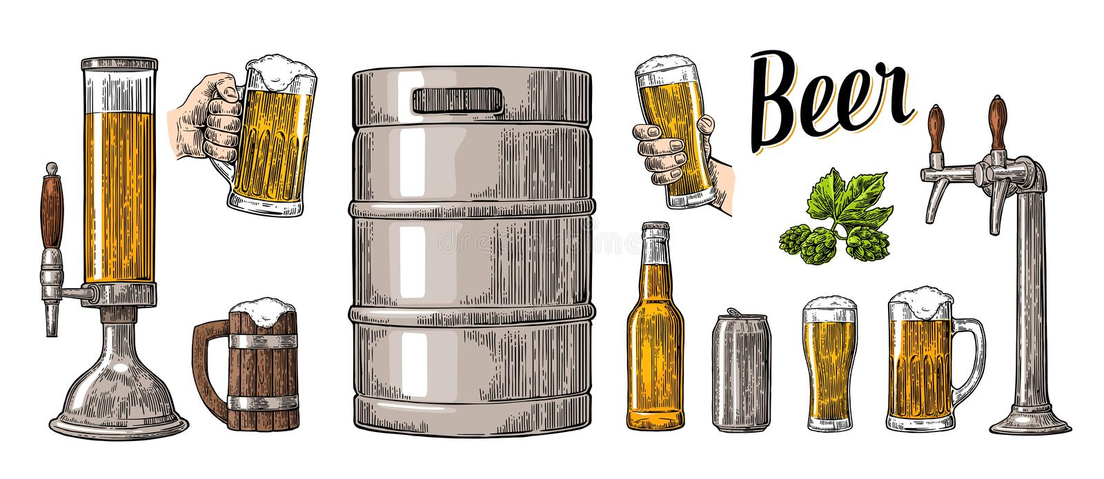 Beer set with two hands holding glasses mug and tap, can, keg, bottle. royalty free illustration