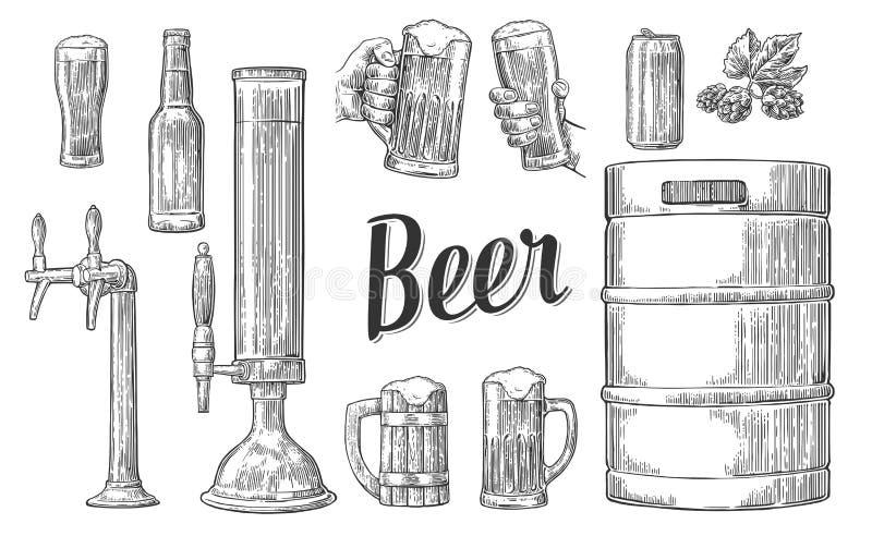 Beer set with two hands holding glasses mug and tap, can, keg, bottle. vector illustration