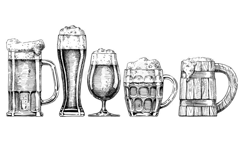 Beer set. Vector set of beer glasses and mugs in ink hand drawn style. on white