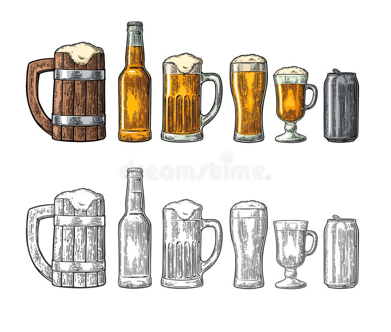 Beer set with wood mug, glass, metallic can, bottle. Engraving. Beer set with wood mug, glass, metallic can, bottle. Vintage black and color vector engraving stock illustration