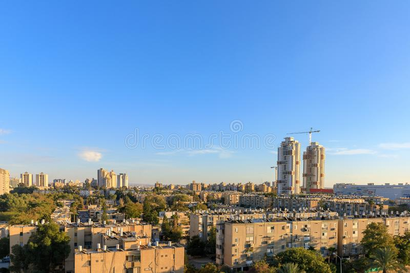 BEER-SHEBA, ISRAEL - JAN 19, 2019: Residential district with two tall buildings. Under construction royalty free stock photos