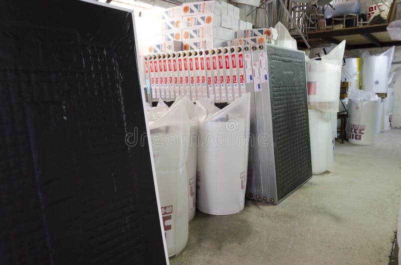 Beer-Sheva, Israel. February 29 -Mirrors solar boilers. Midlde East- Beer-Sheva, Israel. February 29,The installation of new solar water heaters companies 'Hom stock image