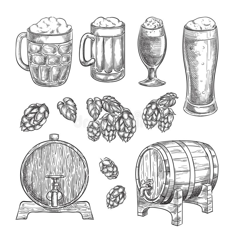 Beer sketch vector illustration. Glasses, mugs, hops, barrel hand drawn isolated elements for pub and bar design.  stock illustration