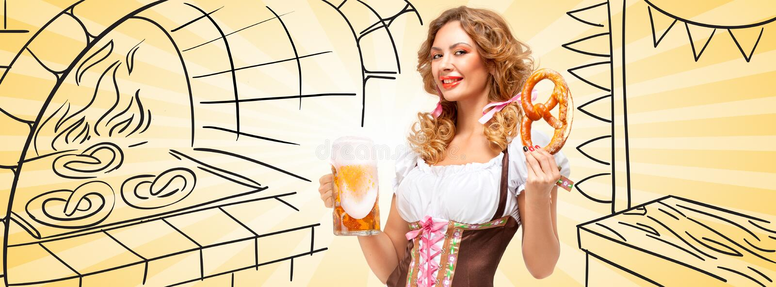 Beer and snack. Beautiful Oktoberfest woman wearing a traditional Bavarian dress dirndl holding a pretzel and beer mug on sketchy pretzel bake oven background stock photo