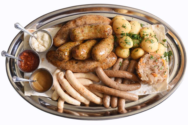 Beer snacks plate stock photography
