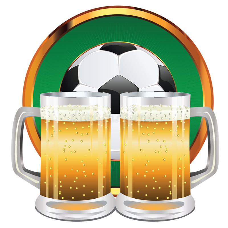 Download Beer and Soccer Ball stock vector. Image of liquid, lager - 43289417