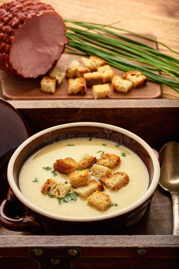 Beer soup with chicken fillet, ham and cheese. Beer soup with chicken fillet, ham and cheese royalty free stock images