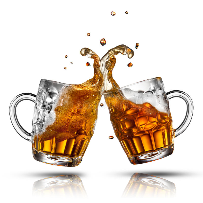 Beer splash in glass isolated. On white royalty free stock image