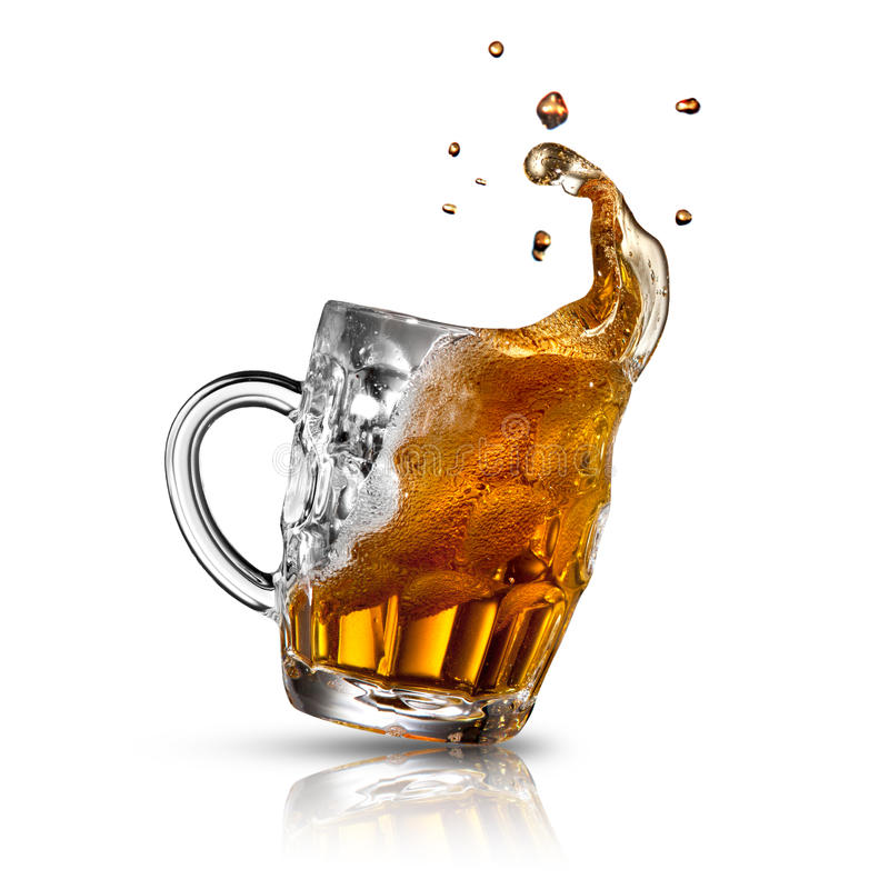 Beer splash in glass isolated on white. See my other works in portfolio stock photos