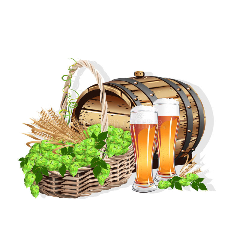 Beer still life. From a beer barrel, a glass of beer and a wicker basket with hops. Vector illustration stock illustration