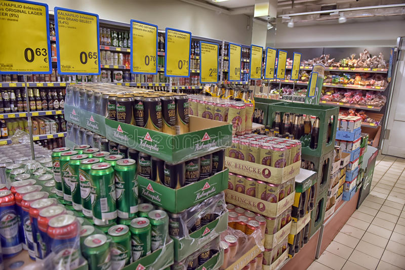 Beer in the supermarket stock photos