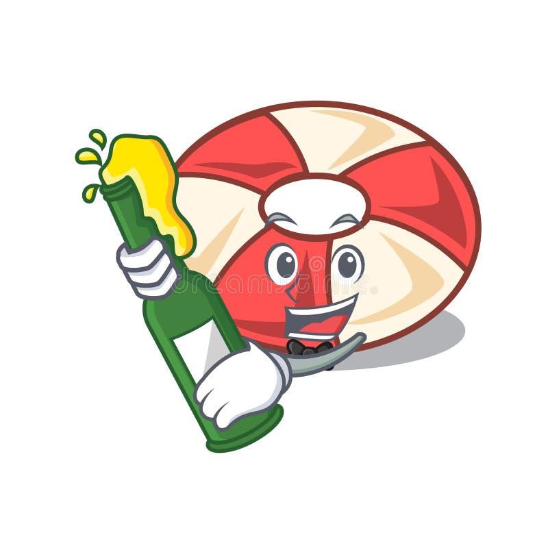 With beer swim tube mascot cartoon. Vector illustration royalty free illustration