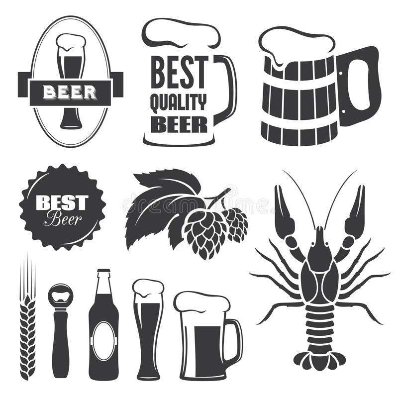 Beer symbols. Set of black beer signs and symbols in vector