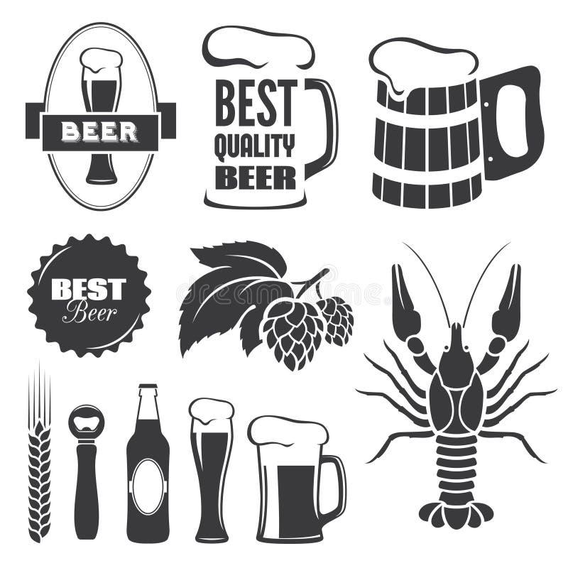 Beer symbols. Set of black beer signs and symbols in vector