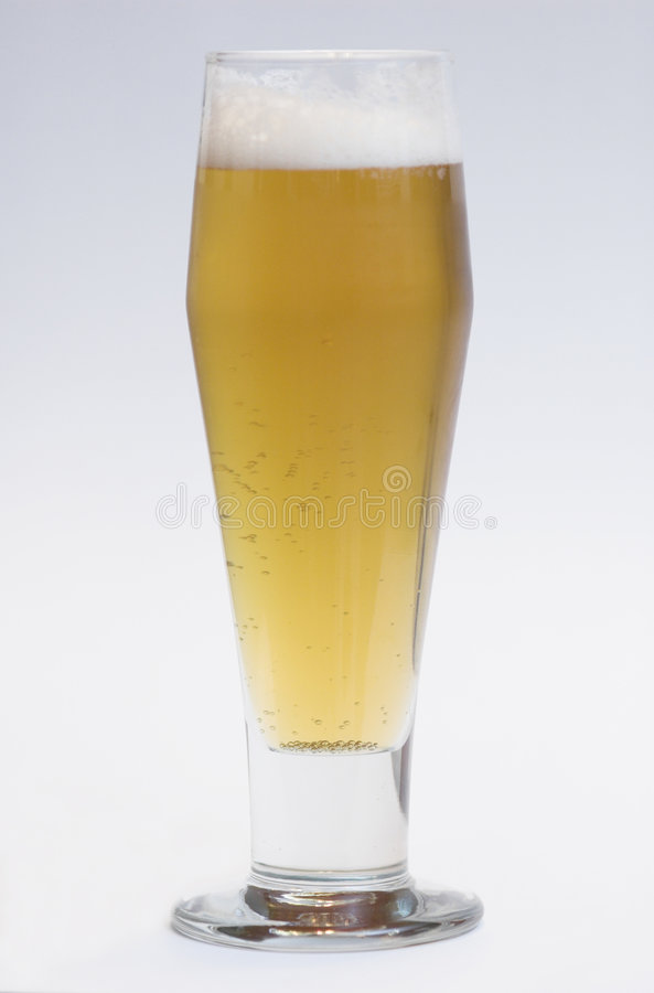 Beer in tall glass stock images
