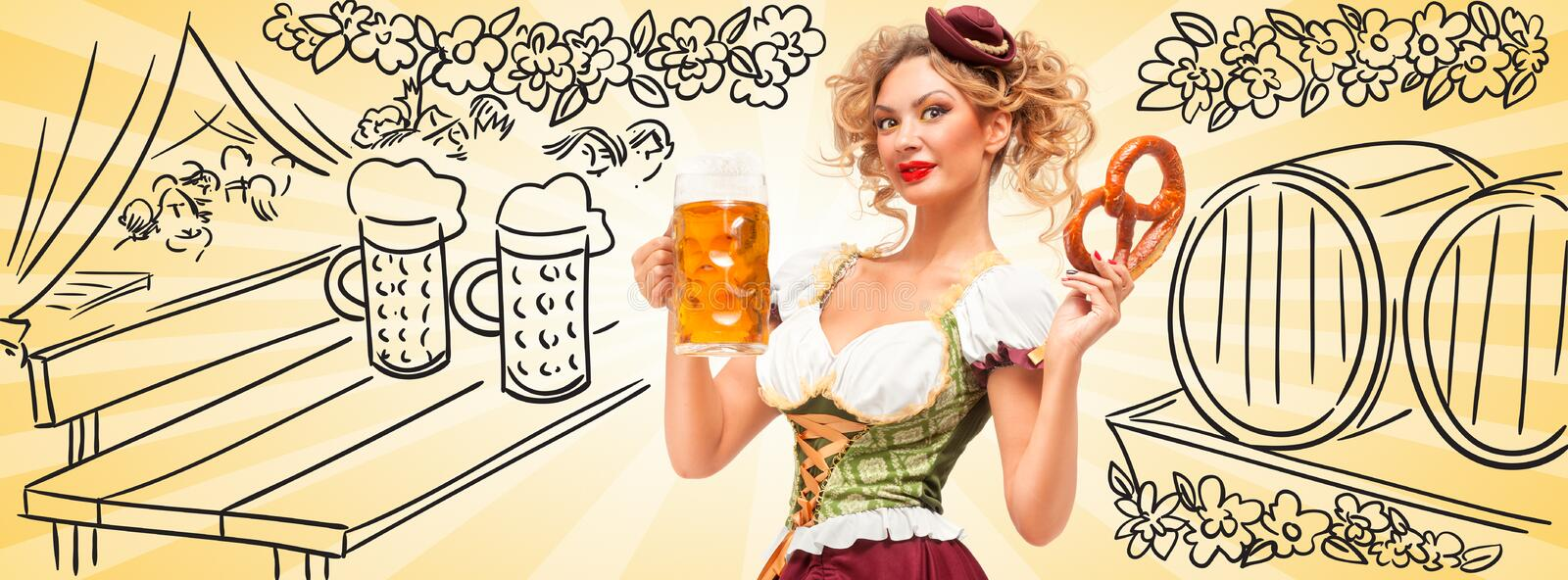 Beer tent with barrels. Beautiful Oktoberfest waitress wearing a traditional Bavarian dress dirndl holding a pretzel and beer mug, and smiling happily on royalty free stock photo