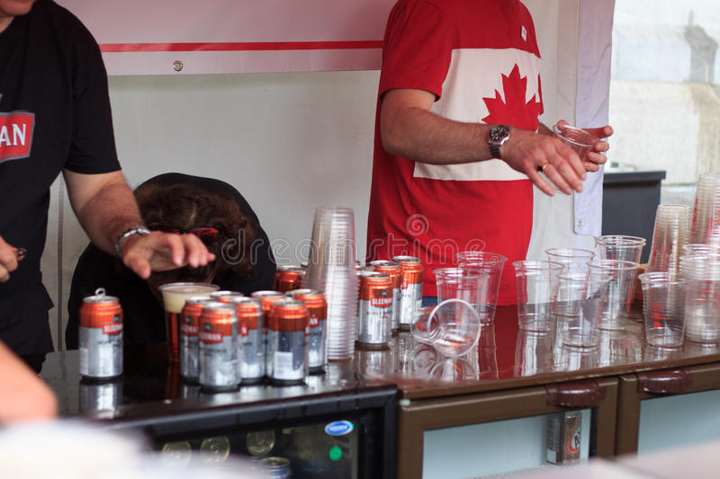 The beer tent at Canada Day 2017 celebrations in London stock images