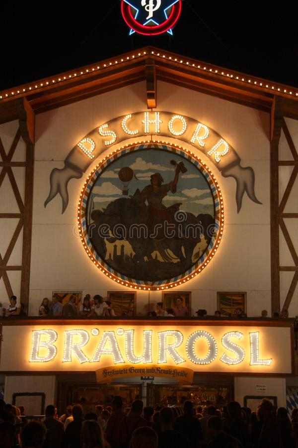Beer tent at Oktoberfest. The Pschorr Beer tent at night at Oktoberfest in Munich, Germany on October 4th, 2010 royalty free stock photography