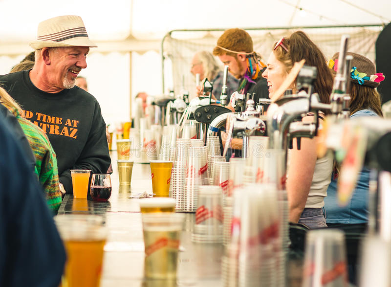 Beer tent at Womad Festival stock image