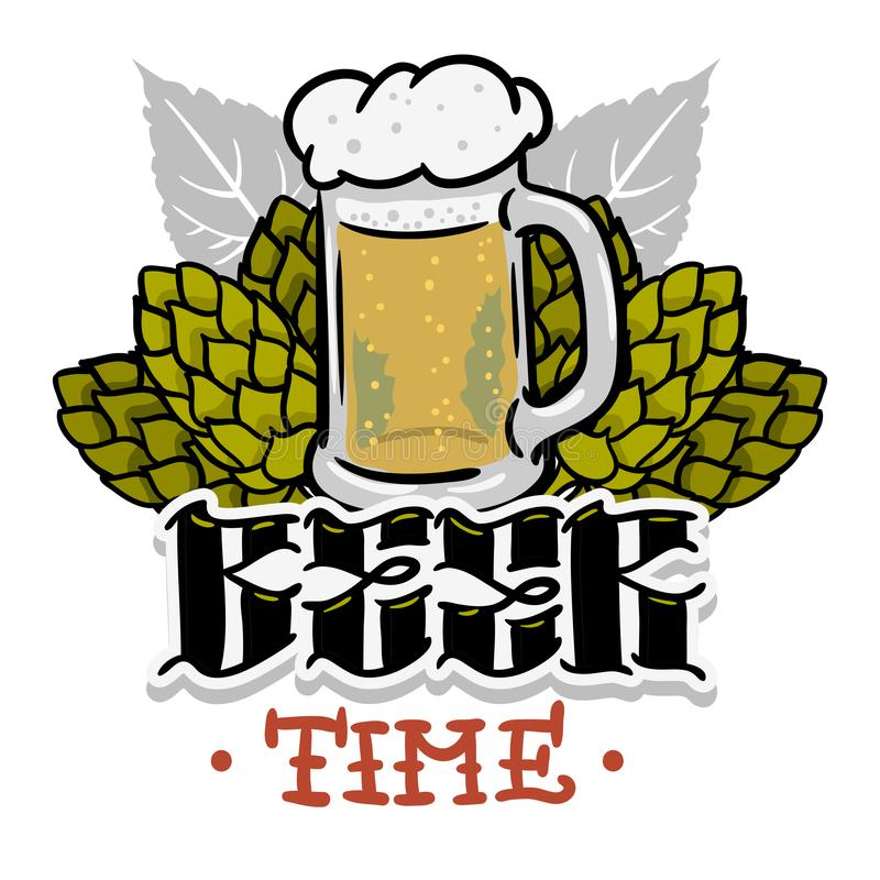 Beer Time Hand Drawn Design For T Shirt Print With Hops And A Mug Of Beer Illustration On A White Background Vector. Graphic vector illustration