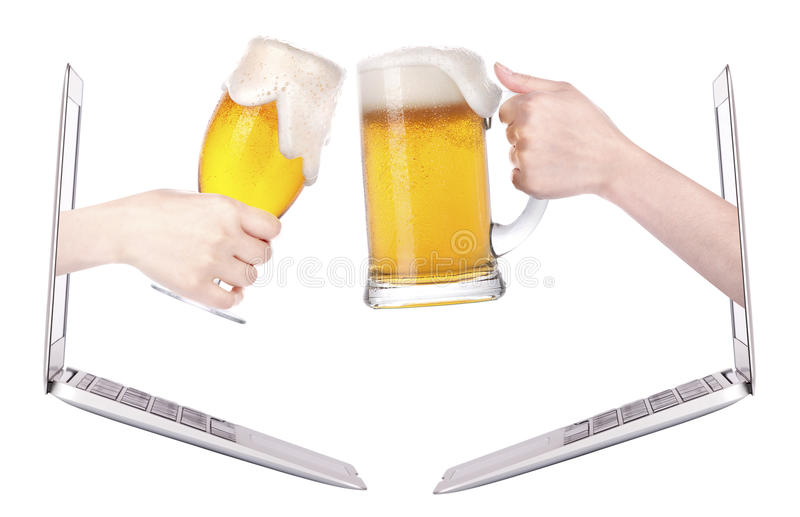 Beer toasting to show internet business success royalty free stock photo