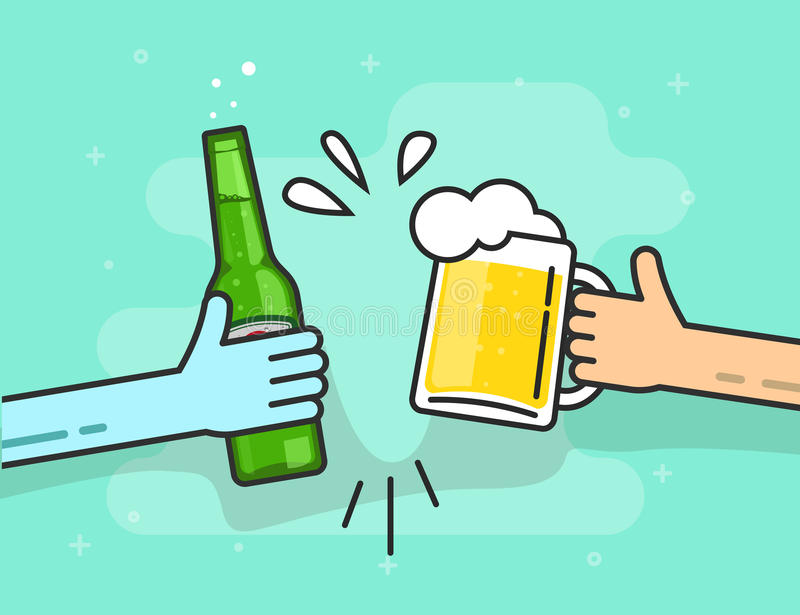 Beer toasting vector on blue background, hands holding glasses. Beer toasting vector illustration on blue background, hands holding beer glasses with foam and royalty free illustration