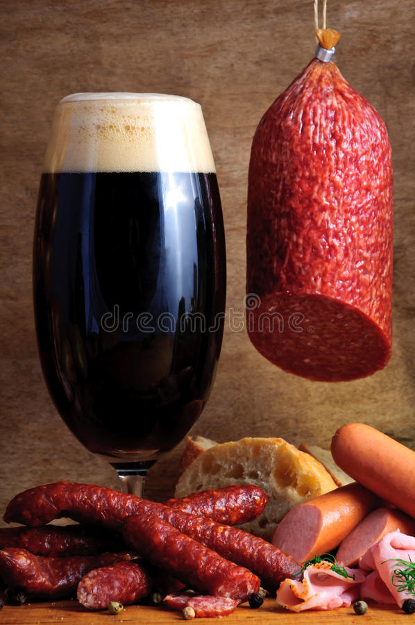 Beer and traditional sausages stock photo