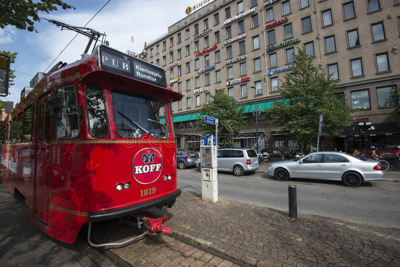 Beer Tram in Helsinki. The SpåraKOFF Beer Tram is a popular tourist transportation and the only pub train in the world. Riding thirsty customers from around royalty free stock photo
